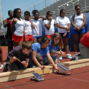 Students competing in Junior Solar Sprint